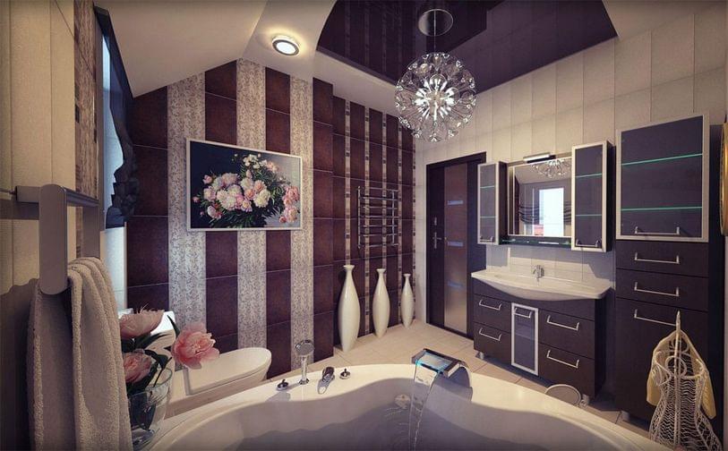 Ремонт ванной комнаты в коттедже фото примеры работ
